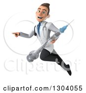 Clipart Of A 3d Young Brunette White Male Super Doctor Flying Pointing And Holding A Giant Vaccine Syringe Royalty Free Illustration