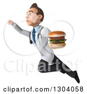 Clipart Of A 3d Unhappy Young Brunette White Male Nutritionist Doctor Flying Up To The Left And Holding A Double Cheeseburger Royalty Free Illustration