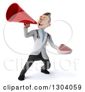 Clipart Of A 3d Young Brunette White Male Nutritionist Doctor Holding A Beef Steak And Announcing Upwards With A Megaphone Royalty Free Illustration