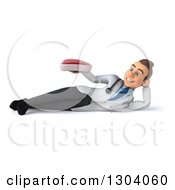 Clipart Of A 3d Young Brunette White Male Nutritionist Doctor Resting On His Side And Holding A Beef Steak Royalty Free Illustration