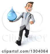 Clipart Of A 3d Young Brunette White Male Doctor Walking And Holding A Water Droplet Royalty Free Illustration