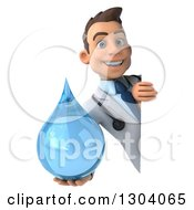 Clipart Of A 3d Young Brunette White Male Doctor Holding A Water Droplet Around A Sign Board 2 Royalty Free Illustration