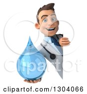 Clipart Of A 3d Young Brunette White Male Doctor Holding A Water Droplet Around A Sign Board Royalty Free Illustration