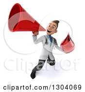 Clipart Of A 3d Young Brunette White Male Phlebotomist Doctor Holding A Blood Drop And Using A Megaphone Royalty Free Illustration