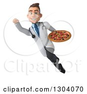 Clipart Of A 3d Young Brunette White Male Nutritionist Doctor Flying And Holding A Pizza Royalty Free Illustration