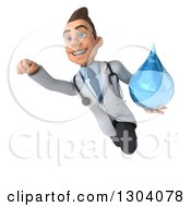 Clipart Of A 3d Young Brunette White Male Doctor Flying And Holding A Water Droplet Royalty Free Illustration