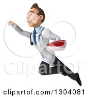 Clipart Of A 3d Young Brunette White Male Super Nutritionist Doctor Flying Up To The Left And Holding A Beef Steak Royalty Free Illustration