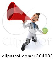 Clipart Of A 3d Young Brunette White Male Nutritionist Doctor Holding A Green Bell Pepper And Using A Megaphone Royalty Free Illustration