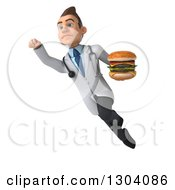 Clipart Of A 3d Unhappy Young Brunette White Male Nutritionist Doctor Flying And Holding A Double Cheeseburger 2 Royalty Free Illustration