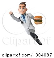 Clipart Of A 3d Unhappy Young Brunette White Male Nutritionist Doctor Flying And Holding A Double Cheeseburger Royalty Free Illustration