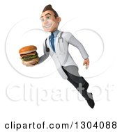Clipart Of A 3d Young Brunette White Male Nutritionist Doctor Flying And Holding A Double Cheeseburger Royalty Free Illustration