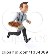 Clipart Of A 3d Young Brunette White Male Nutritionist Doctor Sprinting To The Right And Holding A Pizza Royalty Free Illustration