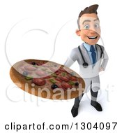 Clipart Of A 3d Young Brunette White Male Nutritionist Doctor Holding Up A Pizza Royalty Free Illustration