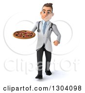 Clipart Of A 3d Young Brunette White Male Nutritionist Doctor Walking And Holding A Pizza Royalty Free Illustration