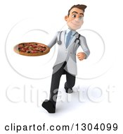 Clipart Of A 3d Young Brunette White Male Nutritionist Doctor Speed Walking And Holding A Pizza Royalty Free Illustration