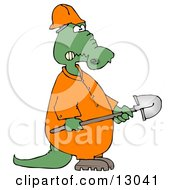 Angry Alligator Construction Worker Holding A Shovel