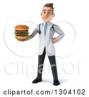Clipart Of A 3d Young Brunette White Male Nutritionist Doctor Holding A Double Cheeseburger Royalty Free Illustration