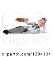 Clipart Of A 3d Young Brunette White Male Nutritionist Doctor Resting On His Side And Holding Up A Pizza Royalty Free Illustration