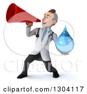 Clipart Of A 3d Young Brunette White Male Doctor Holding A Water Droplet And Announcing With A Megaphone Royalty Free Illustration