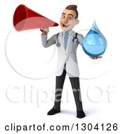 Clipart Of A 3d Young Brunette White Male Doctor Holding A Water Droplet And Using A Megaphone Royalty Free Illustration