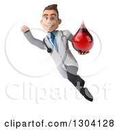 Clipart Of A 3d Young Brunette White Male Super Phlebotomist Doctor Flying And Holding A Blood Drop Royalty Free Illustration