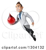 Clipart Of A 3d Young Brunette White Male Super Phlebotomist Doctor Floating And Holding A Blood Drop Royalty Free Illustration