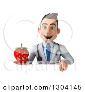 Clipart Of A 3d Young Brunette White Male Nutritionist Doctor Holding A Strawberry Over A Sign Royalty Free Illustration