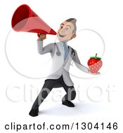 Clipart Of A 3d Young Brunette White Male Nutritionist Doctor Holding A Strawberry And Announcing With A Megaphone Royalty Free Illustration