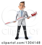 Clipart Of A 3d Happy Young Brunette White Male Dentist With A Giant Toothbrush Royalty Free Illustration