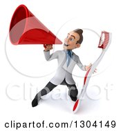 Clipart Of A 3d Happy Young Brunette White Male Dentist With A Giant Toothbrush Using A Megaphone 2 Royalty Free Illustration