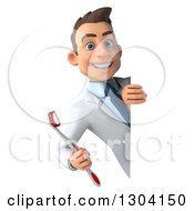 Clipart Of A 3d Happy Young Brunette White Male Dentist With A Toothbrush Smiling Around A Sign Royalty Free Illustration
