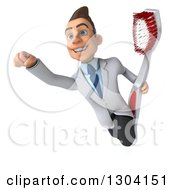 Clipart Of A 3d Happy Young Brunette White Super Male Dentist Flying With A Giant Toothbrush Royalty Free Illustration