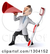 Clipart Of A 3d Happy Young Brunette White Male Dentist With A Giant Toothbrush Using A Megaphone Royalty Free Illustration