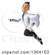 Clipart Of A 3d Happy Young Brunette White Male Super Dentist Flying Pointing And Holding A Tooth Royalty Free Illustration by Julos
