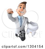 Clipart Of A 3d Happy Young Brunette White Male Super Dentist Flying With A Tooth Royalty Free Illustration by Julos