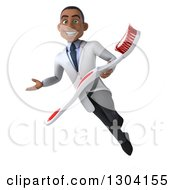 Clipart Of A 3d Young Black Male Dentist Flying Presenting And Holding A Giant Toothbrush Royalty Free Illustration