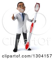 Clipart Of A 3d Young Black Male Dentist Giving A Thumb Up And Holding A Giant Toothbrush Royalty Free Illustration