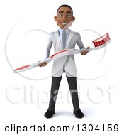 Clipart Of A 3d Young Black Male Dentist Holding A Giant Toothbrush Royalty Free Illustration