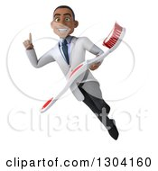 Clipart Of A 3d Young Black Male Dentist Flying Holding Up A Finger And A Giant Toothbrush Royalty Free Illustration