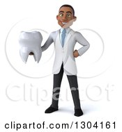 Clipart Of A 3d Young Black Male Dentist Holding A Giant Tooth Royalty Free Illustration