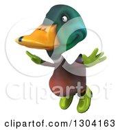 Clipart Of A 3d Gardener Mallard Drake Duck Flying Royalty Free Illustration