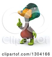 Clipart Of A 3d Gardener Mallard Drake Duck Pointing Up Royalty Free Illustration