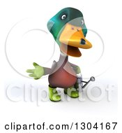 Clipart Of A 3d Gardener Mallard Drake Duck Presenting And Holding A Watering Can Royalty Free Illustration