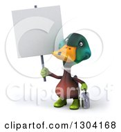 Clipart Of A 3d Gardener Mallard Drake Duck Holding A Watering Can And A Blank Sign Royalty Free Illustration
