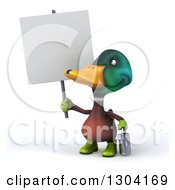 Clipart Of A 3d Gardener Mallard Drake Duck Holding A Watering Can And Looking Up At A Blank Sign Royalty Free Illustration