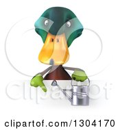 Clipart Of A 3d Gardener Mallard Drake Duck Holding A Watering Can And Pointing Down Over A Sign Royalty Free Illustration