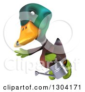 Clipart Of A 3d Gardener Mallard Drake Duck Flying Left And Holding A Watering Can Royalty Free Illustration