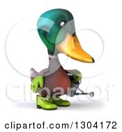 Clipart Of A 3d Gardener Mallard Drake Duck Facing Right And Watering Royalty Free Illustration by Julos