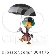 Clipart Of A 3d Mallard Drake Duck Wearing Sunglasses And Walking With An Umbrella Royalty Free Illustration by Julos