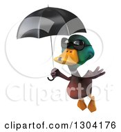 Clipart Of A 3d Mallard Drake Duck Wearing Sunglasses And Flying With An Umbrella Royalty Free Illustration by Julos